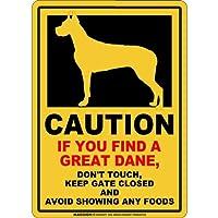 CAUTION IF YOU FIND マグネットサイン:グレートデーン/立ち耳(レギュラー)イエロー 注意 DON'T TOUCH 触れない/触らない KEEP GATE CLOSED ドアを閉める 英語 防犯 アメリカンマグネットステッカー
