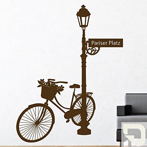DESIGNSCAPE® Wandtattoo Mitten in Berlin: Pariser Platz, Fahrrad, Straßenlaterne 93 x 120 cm (Breite x Höhe) creme DW807007-M-F102