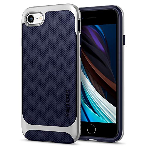 Spigen Neo Hybrid Herringbone Kompatibel mit iPhone SE 2020 Hülle, iPhone 8/7 Hülle 2-Teilige Handyhülle Schutzhülle Case Satin Silber 054CS22199