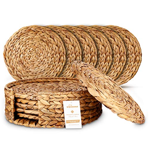 """Wovanna Woven Placemats for Dining Table - Set of 6 Adorable Thick Rustic Round Kitchen Placemats with Decorative Round Holder – All Natural Wicker Tablemats Hand-Braided from Water Hyacinth, 11"""""""