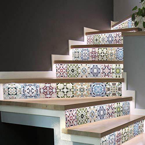 Stickers adhésifs escalier carrelages | Sticker Autocollant contremarche Carreaux de ciment – Stickers contremarche carrelages | Escalier carreaux de ciment adhésif - azulejos – 15 x 105 cm - 6 bandes
