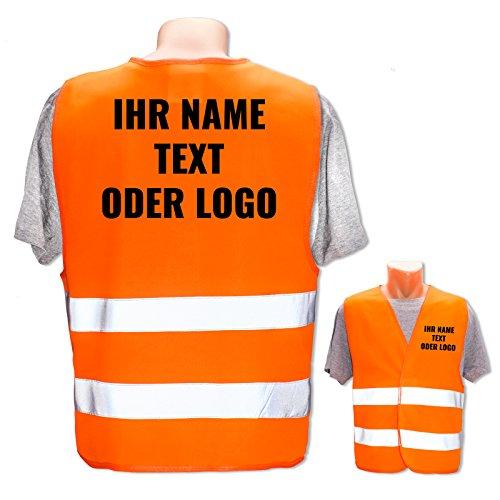 Hochwertige Warnweste mit Leuchtstreifen * Bedruckt mit Name Text Bild Logo Firma * personalisiertes Design selbst gestalten, Farbe Warnweste:Orange (XL/XXL), Druckposition:Rücken + Linke Brust