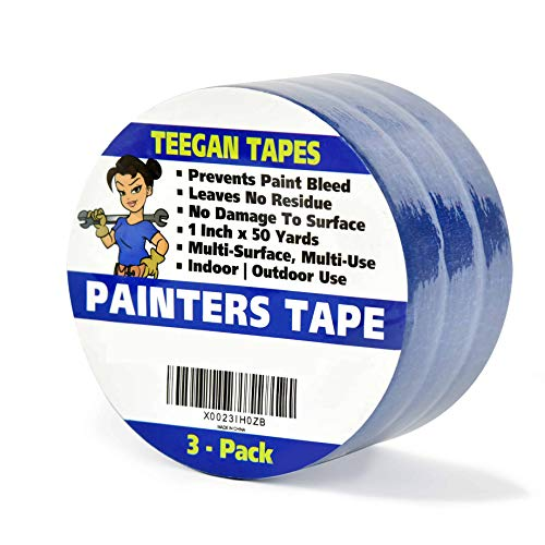 Painters Tape (3-Pack) | 1 Inch x 50 Yds | Prevents...