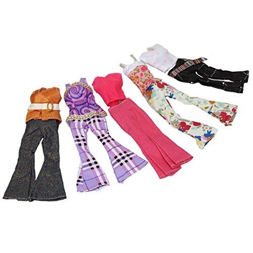 KINGSO 5 x Vêtements Pantalon Veste Set Handmade Wear Clothes pour Barbie Poupée Doll