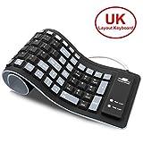 Upgrade UK Layout Flexible Keyboard, CEEBON Waterproof