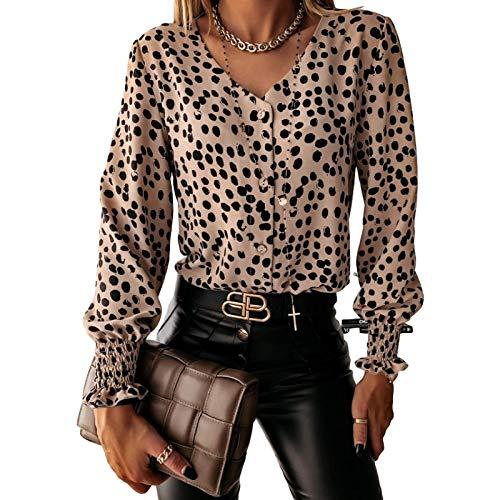Blusa con Botones para Mujer Tops Otoo e Invierno Moda con Cuello en V Personalidad Polka Dot Impresin Botn Camisa de Manga Larga XL