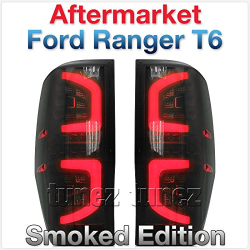 Feu arrière TUNEZ® Smoke LED Feu arrière compatible avec Ranger T6 PX MK1 MK2 Wildtrak XL XLT Limited 2 FX4 XLS année 2011-2020 arrière voiture Feux fumés paire