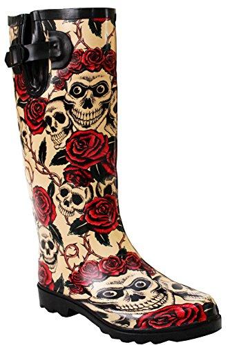 A&H Footwear Damen Gummistiefel, verstellbar, wasserdicht, Gummi, Festival, Regen, Schlamm, Schnee, Mädchen, Gummistiefel – Größen 36-41, Gelb - Totenkopf-Rosen - Größe: 40 EU
