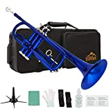 Eastrock Trumpet Standard Brass Bb Blue Trumpet Instrument with Hard Case,Five Legs Trumpet Stand,Gloves, 7C Mouthpiece, Valve Oil for Student Beginner