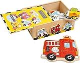 """small foot 1591 Puzzle-Box """"Fahrzeuge"""" aus Holz, schult die Feinmotorik sowie Farb-und Formerkennung, ab 2 Jahren"""