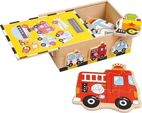 """small foot 2019626 1591 Puzzle Box """"Fahrzeuge"""" aus Holz, schult die Feinmotorik sowie Farb und Formerkennung, ab 2 Jahren"""