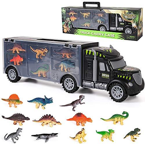 Dinosauri Macchinine Giocattolo per Bambini,Camion del Trasportatore Giocattoli del Camion con 12 Mini Dinosauri Giocattoli per Bambini 3 4 5 6 7 Anni