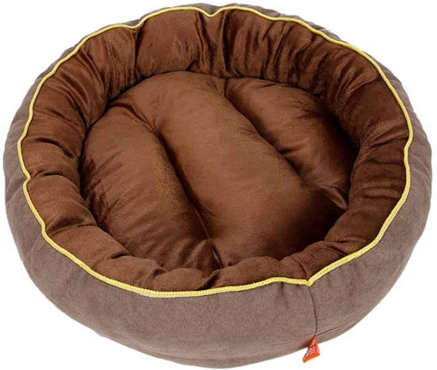 Muziwenju Kennel, pet nest, Teddy Pomeranian bear, small and mediumsized dog suede round kennel, winter warm cat litter, pet supplies, (color   Brown, Size   S)