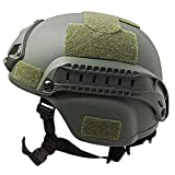 Airsoft Casco Casco Protector Táctico del Combate Táctico Militar Casco Táctico Ejército Protector De Cabeza con Nvg El Soporte Y del Carril Lateral para Airsoft Paintball Caza De Disparo (Verde del