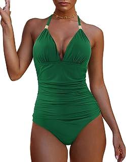 MOSHENGQI Women One Shoulder Cutout Ribbed One Piece Swimwear Bathing Suits