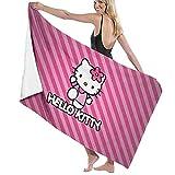 Dibujos animados Anime lindo Hello Kitty Pint Strip Line Toalla de playa Toalla de baño Deportes de secado rápido absorbente toalla ligera manta natación playa fitness baño