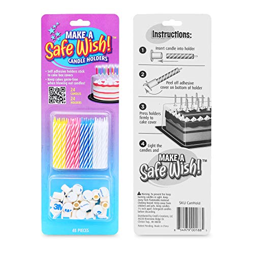 Make a Safe Wish! Spiral Birthday Candles and Candle Holders, 2.5' Colorful Candles, Safe Kids Birthday Party, Keep from Spreading Germs - 24 Candles, 24 Holders