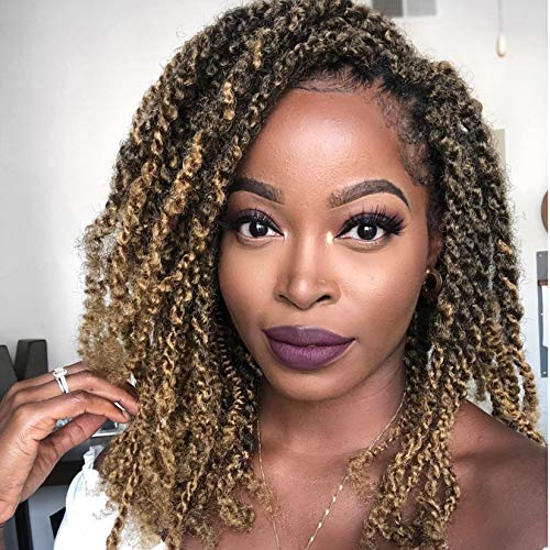 4Packs Cuban Twist Hair 16 inch Afro Kinky Curly Marley Braids Hair Extension Marley Hair For Twists Synthetic Fiber Marley Braiding Hair For Crochet Twist or Faux Locs (T1B/27#)