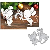 2pcs Feather Animal Mouse Metal Die Cuts, Christmas Wedding Love Mouse Bowtie Cutting Dies Cut Stencils for DIY Scrapbooking Album Decorative Embossing Paper Dies Card Making