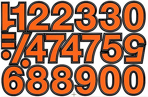 (シャシャン)XIAXIN 防水 PVC製 ナンバー ステッカー セット 耐候 耐水 数字 キャラクター 表札 スーツケース ネームプレート ロッカー 屋内外 兼用 TS-140 (1点, オレンジXブラック)