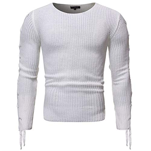 YJNH Men's Knit Pullover Sweater Long Sleeve Slim Fit Crew Neck Casual Daily Wear Color Matching Pleated Sweatshirt Spring and Autumn New Outdoor Comfortable Streetwear Winter Bottoming Shirt XXL