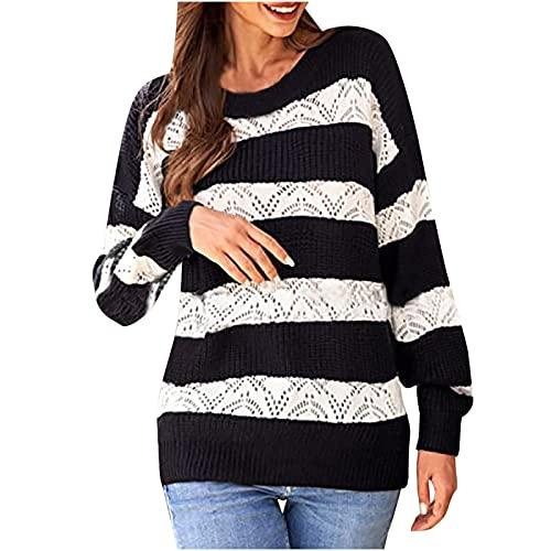 Orgrul Jersey de punto para mujer, cuello redondo, asimétrico, con rayas, de manga larga, hueco, de punto, Negro , XXL
