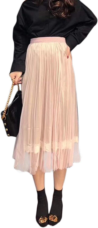 Gabrine Women Elastic Waist Tulle Skirt DoubleSided Wear Mesh Midi Tutu Skirt