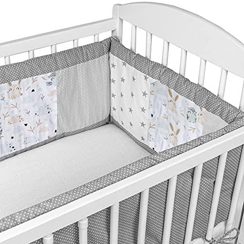 Bettumrandung Nestchen Babybett 140x70 - Patchwork Babybettumrandung aus Baumwolle Bettnestchen Beistellbett Gitterbett umrandung Grau-Eulen
