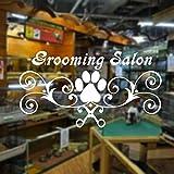 Pegatinas de pared de salón de aseo, tijeras con estampado de pata de rastro, vinilo para tienda de mascotas, pegatina para ventana, vinilo, decoración interior, murales, papel tapiz 42x22cm