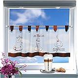 Kamaca Zauberhafte Bistrogardine Coffee Time weißes Voile 40 x 120 Scheibengardine Küche - 2