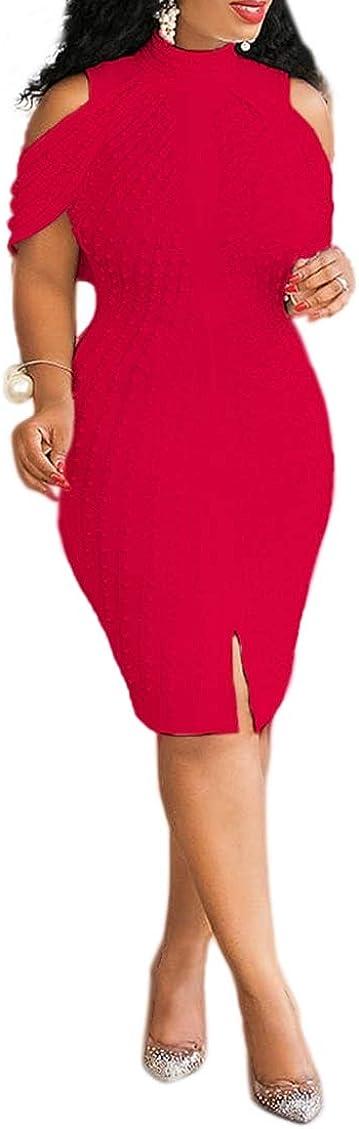 Charlotte Mall VERWIN Plus Size Free Shipping Cheap Bargain Gift Knee-Length Women's Bead Sleeveless Turtleneck