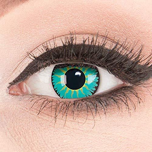 Funnylens 1 Paar farbige Crazy Fun jade turquoise Jahres Kontaktlinsen. perfekt zu Halloween, Karneval, Fasching oder Fasnacht mit gratis Kontaktlinsenbehälter ohne Stärke!