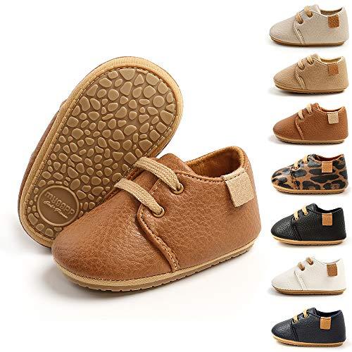 BiBeGoi Niemowlęta chłopcy dziewczęta oxford buty ze skóry PU sznurowane antypoślizgowe trener miękka gumowa podeszwa dziecko pierwsze chodzenie trampki, - A brązowy - 6-12 Miesiące