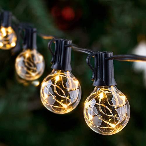 uuffoo LED Draussen Lichterketten, 38.5FT G40 Globe Garden Fairy Lights Wasserdichte Glühbirne Lichterketten für Garten Patio Yard Home Wedding Parties, Schwarz