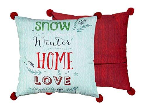 Spiegelburg 11619 - Meubles, décoration, Design - Coussin de Salon Double Face décoratif Bleu et Rouge avec Impression de Snow Winter - Home Love