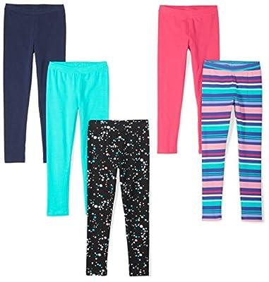 Spotted Zebra Girls' Kids 5 Pack Leggings, 5-Pack Starburst, Large from Spotted Zebra