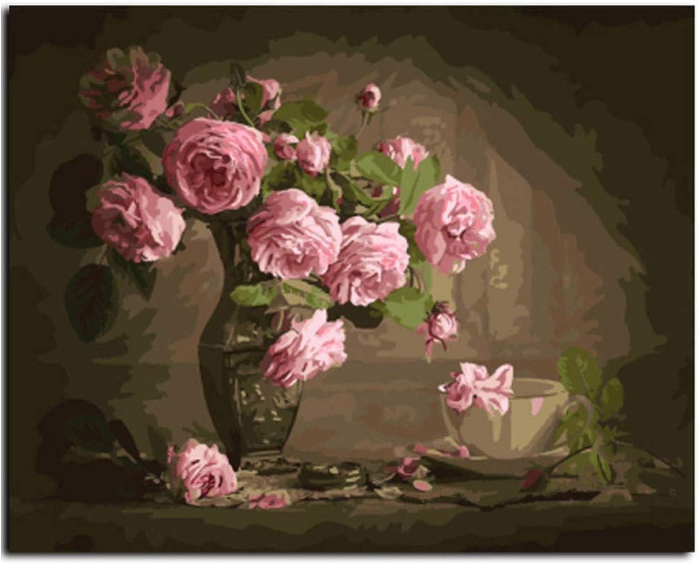 Acrylmalerei Malen Malen Malen Nach Zahlen Für Erwachsene Anfänger Vase Mit Rosan Nach Hause Wand Dekor DIY Geschenk-Rahmen 40X50Cm B07PFWSXZT   Fairer Preis  c67ae8