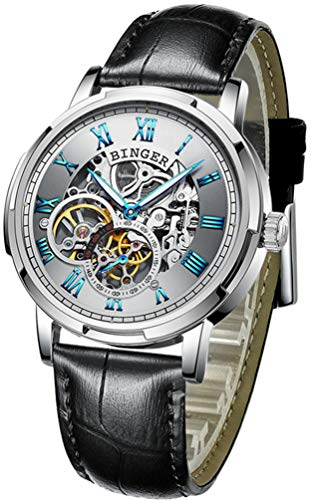 BINGER Skeleton Men's Watch Automatic Mechanical Stainless Steel Case (Leather Band White Face)