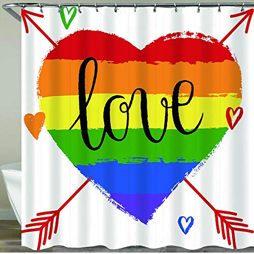 COFEIYISI Shower Curtain,LGBT,gay or lesbian pride greeting card,poster spectrum hand drawn rainbow heart and arrow for Valentine's Day,Waterproof Bath Curtains Polyester Shower Curtains with 12 Hooks