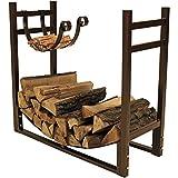 Sunnydaze Firewood Rack with Kindling Holder - Indoor or Outdoor Fireplace Log Rack Firewood Holder for Wood Storage - 33 Inch Wide x 30 Inch Tall, Bronze