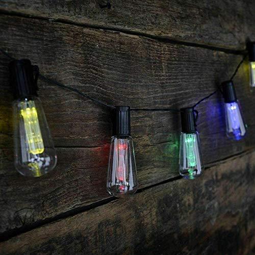 A-Generic 10 x Multicolor Retro Di Si Light Bombilla Solar Jardín LED Luces Luces Cálidas Lámpara Blanca de 3,5 MI Decoración del Arte de jardín Luz de Hada iluminada al Aire Libre