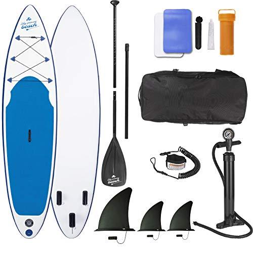 EASYmaxx SUP aufblasbares Stand-Up Paddle-Board, Inklusive Pumpe, Tragetasche & Alu-Paddel | 3 Finnen für höchste Stabilität | Ideal für Einsteiger und Fortgeschrittene, Weiss Blau, 320x76x15cm