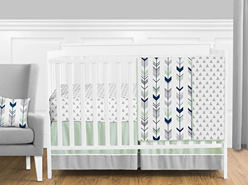 Grey, Navy Blue and Mint Woodland Arrow 11 Piece Baby Boy or Girl Crib Bed Bedding Set