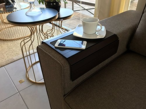 Sofa Arm Tray Table with EVA base. Weighted Sides. Fits over square or rounded chair arms