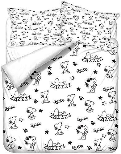 QWAS Juego de cama con diseño de Snoopy, 3 piezas, 1 funda nórdica y 2 fundas de almohada, funda nórdica con estampado 3D, sábana infantil (R2,140 x 210 cm + 50 x 75 cm x 2).