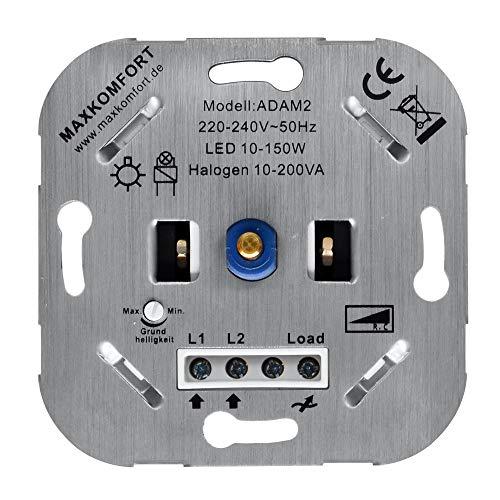 Led Dimmer 230v A2 Unterputz Phasenabschnitt R,C 10-200w Einsatz geeignet für Led und Halogen Druckwechselschalter Dimmschalter