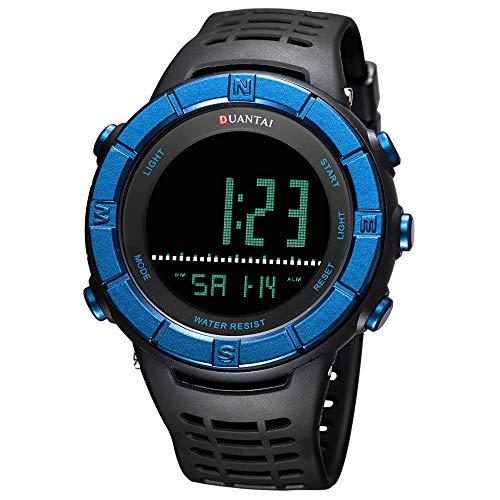 SAILINE Herren Armbanduhr, modisch, digital, Kunststoffgehäuse, elektronisch, wasserdicht, Militär-LED-Sport-Multifunktions-Armbanduhr (Blue)