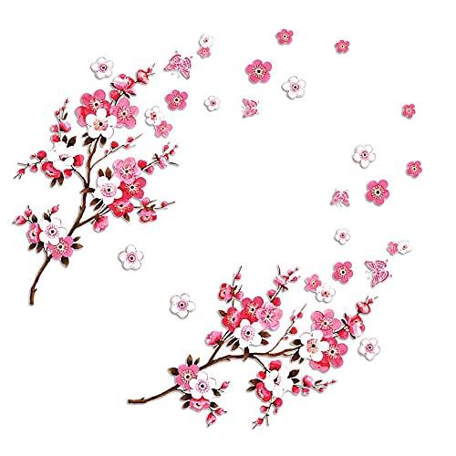 Arte De La Etiqueta De La Pared, Pegatinas De La Pared De La Flor De Cerezo con Las Mariposas Arte De La Pared del Vinilo ExtraíBle DecoracióN del Hogar (2 Juegos)