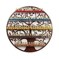NAN liang エッセンシャルオイル&ネイルポーランドのストレージ - ディスプレイホルダーオーガナイザーの棚からの蝶 - 楕円形の黒い金属のツリーシルエット - 壁に取り付けられたラウンドラックオイルボトルの保管(ブロンズ) シェルフ (サイズ さいず : 60 cm 60 cm)