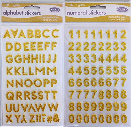 3D Glitter Alphabet Letter Number Stickers 17mm Gold Silver - Personalise Your Cards and Gifts (Gold)